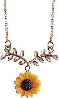 Fenical Collar de Cadena de clavícula de Hoja de Girasol Collar de Cadena de clavícula de aleación para niñas (Oro Rosa)