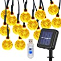 KYOMILY Fairy String Lights, 24 FT 50 LED Bulb USB & Solar Patio String Lights Waterproof 8 Modes for Wedding Centerpieces, Party Decorations (Warm White)