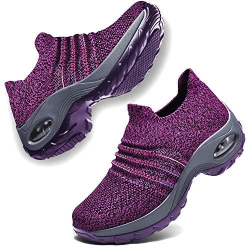 DierCosy Nursing Shoes for Women Black Slip on Womens Walking Shoes Comfortable Nurse Work Shoes