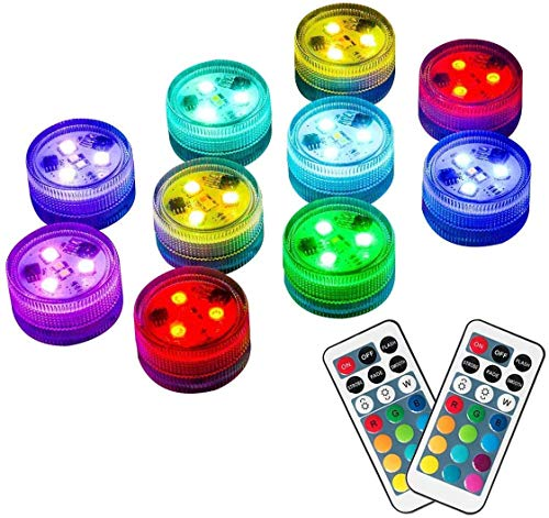 Homemory 10pcs Submersible LED Lights, Waterproof Lights with Remote for Vase Shower, Battery Operated Underwater Color Changing EFX Light for Easter, Halloween