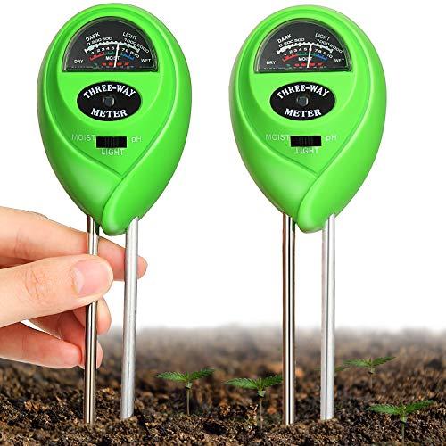2 Packungen Bodentester Boden pH Meter Boden Feuchtigkeit Meter 3 in 1 Boden Tester Kit mit Garten Feuchtigkeit/Licht/pH Garten Rasen Bauernhof Gartenarbeit Werkzeuge und für Outdoor Pflanze Pflege