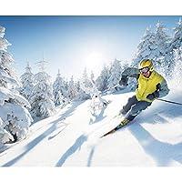 xueshao カスタム3Dスキースノースポーツ冬雪店背景壁紙リビングルーム寝室レストランショップ壁画-350X250Cm