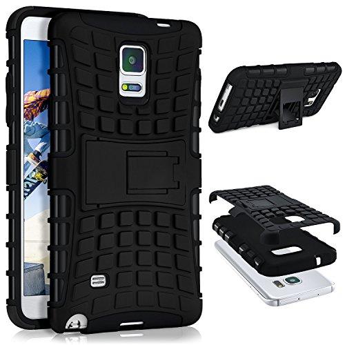 ONEFLOW® Tank Case kompatibel mit Samsung Galaxy Note 4 Outdoor Hülle | Panzer Handyhülle mit Ständer - 360 Grad Handy Schutz aus Silikon & Kunststoff, Schwarz