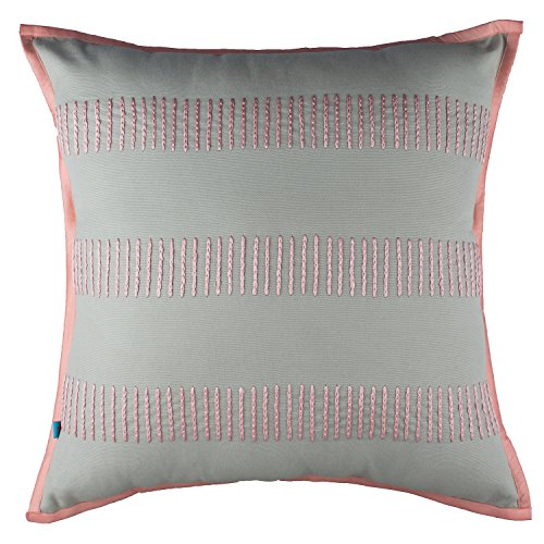 Best Price Modern Embroidered Geometric Striped Pattern Textured Throw Pillow Cushion Cover, Gray, Pink, 18×18