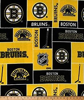 Fleece Boston Bruins NHL Hockey Sports Team Fleece Fabric Print by The Yard (A605.22)