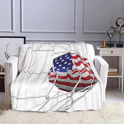 NISENASU Kuscheldecke Fleecedecke Flanell Decke USA American Flag gedruckt Fußball in einem Netto-Ziel Erfolg stilisierte Grafik Blanket Für Bett Sofa Schlafzimmer Büro 150X200CM