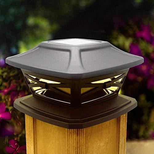 Aaedrag Wasserdichte LED-Garten-Lampe, Solar Säule Scheinwerfer Zaun Lampe Solar-Säule Leuchten Außen Pfosten-Kappen-Licht Gartenzaun-Lampe Holz Säule Lampe Wasserdichte Solar-Straßenlaterne, warmes L