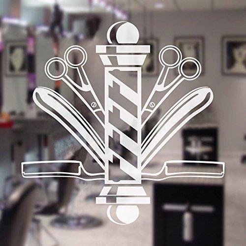 DigTour WallArt Pegatina de Pared con símbolo de barbero, para Ventana, decoración de peluquería, barbería, Tijeras