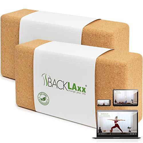 BACKLAxx® Yoga Block 2er Set aus Kork - 100% Natur Yoga Klötze nachhaltig - Yogablöcke hautfreundlich und ökologisch hergestellt inkl. Anwendungsvideo