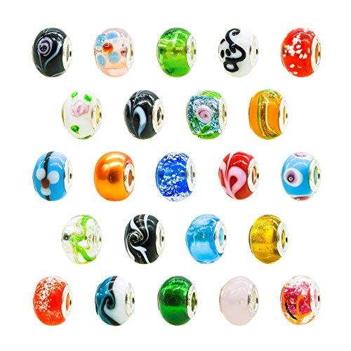 TOAOB 50 Stück Glasperlen Großloch European Perlen Mehrfarbig 14x10.5mm für Schmuckherstellung Armbänder Halsketten