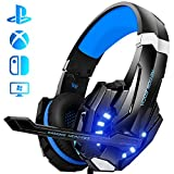 Auriculares Gaming PS4, Galopar Cascos Gaming, Premium Stereo con Microfono Gaming Headset con 3.5mm Jack para PC/Xbox One/Switch - con Gancho y 2 x Cable de Extensión-Azul