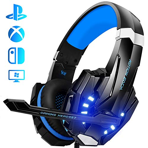 Auriculares Gaming PS4, Galopar Cascos Gaming, Premium Stereo con Microfono Gaming Headset con 3.5mm Jack para PC/Xbox One/Móvil - con Gancho y 2 x Cable de Extensión-Azul