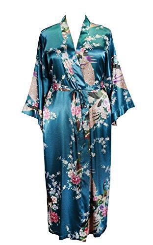 838 - Plus Size Women's Kimono Long Robe - Floral (US One-Size fits Most 1X 2X 3X)