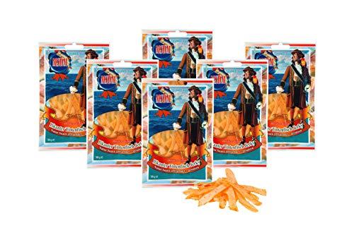 Pikanter Tintenfisch Jerky - mit Chilli I (6 x 36g Pack) Natur Snack getrocknet & gesalzen I Low Carb I High Protein I Low Fat I Fitness Snack I Trockenfisch reich an Omega 3 I für Männer & Frauen