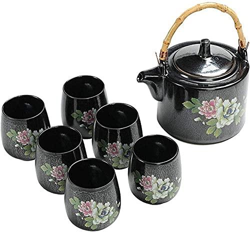 BaiJaC Tetera Estilo japonés, Conjunto de té Tazas de té Conjuntos de té de cerámica Conjunto de Tetera Negra con asa 1 Tetera 6 Tazas de té 1 Hoja de Cola