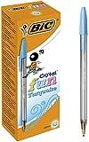 BIC Cristal Fun bolígrafos Punta Ancha (1,6 mm) – Turquesa, Caja de 20 unidades