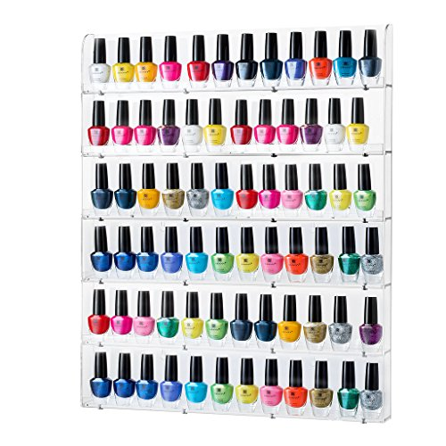 Sagler Nail Polish Rack - Acrylic Nail Polish Organizer Holds up to 102 Bottles - Clear Nail Polish Holder Nail...