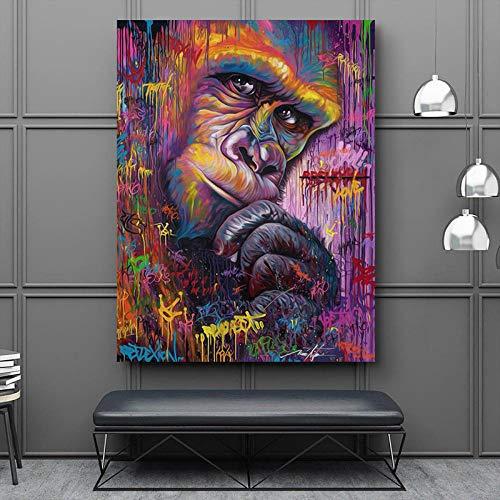 DIY pintura al óleo pintura por números arte abstracto mono animal carteles...
