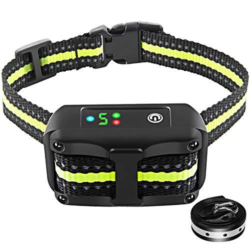 Authen Bark Collar Barking Control Training Collar with Beep Vibration and No Harm Shock(5 Adjustable Sensitivity Control) for Small Medium Large Dog