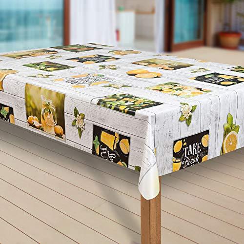 laro Wachstuch-Tischdecke Abwaschbar Garten-Tischdecke Wachstischdecke PVC Plastik-Tischdecken Eckig Meterware Wasserabweisend Abwischbar G11, Größe:140x300 cm, Muster:Zitrone Zitronenbaum gelb