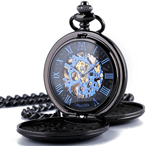 ManChDa Double Cover Roman Numerals Dial Skeleton Women Pocket Watches Gift for Mens