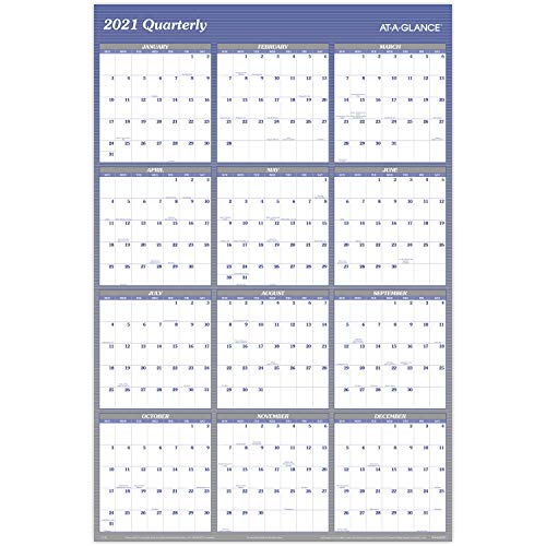2021 Erasable Calendar, Dry Erase Wall Planner by AT-A-GLANCE, 48' x 32', Jumbo,...
