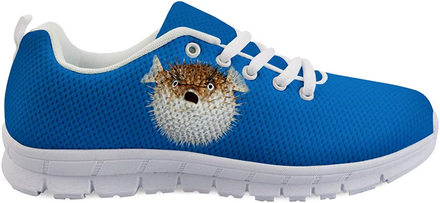 Owaheson Lace-up Sneaker Training shoes Mens Womens Surprised Blowfish Puffer Fish