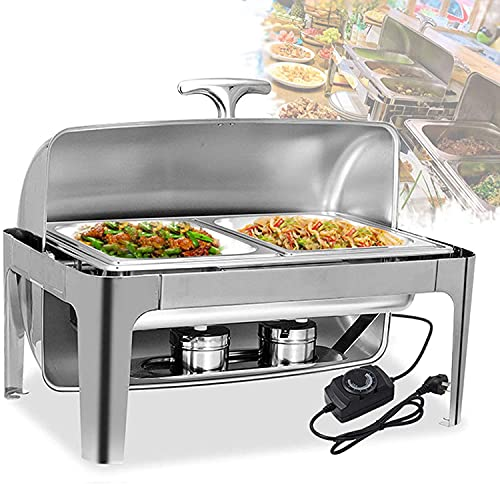 Chafing Dishes with Lids, 9L Electric Food Warmers for Parties and Buffets, Stainless Steel Buffet Servers for Buffet Wedding or Party - Keep Food Warm All Day G-teeth (Size : GN 1/2)