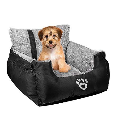 FRISTONE Hunde Autositz Kleine Hunde Sicherheit Hundsitz, Dackel Bulldogge Reisebett Erhöht Autositze, mit Clip-on-Sicherheitsleine und Lagerung Tasche, Schwarz