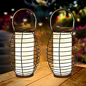 Farol Solar para Exteriores Linterna LED Solar Luces de mesa solares para jardín, al aire libre, patio, césped, pasillo,Decoracion Fiesta 2 Pack