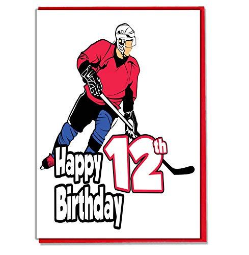 Eishockey Geburtstagskarte zum 12. Geburtstag, für Jungen, Sohn, Enkel, Freund, Neffe, Bruder