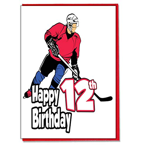 Geburtstagskarte zum 12. Geburtstag, Motiv: Eishockey, für Jungen, Sohn, Enkel, Freund, Neffe, Bruder