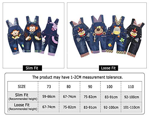 Baby Mädchen Denim Overall Jeans Hose mit Hosenträger Kinder Baumwolle Latzhose Kaninchen Butterfly – 100 - 5