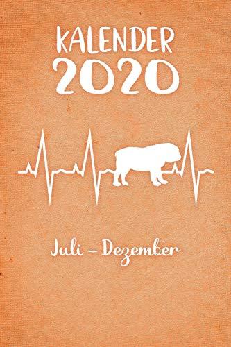 Kalender 2020: Oranger Tageskalender Englische Bulldogge Herzschlag Hunde 2. Halbjahr Juli Dezember ca DIN A5 weiß über 190 Seiten
