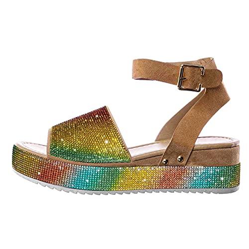 Sandalias Mujer Plataforma Elegantes Diamante de imitación Punta Abierta Zapatos Mujer Matrimonio...