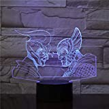 3D Illusion Night Light LEDAncient Greek Roman Warriorss 3D USB Lámpara de mesa Multicolores Iluminación Visual Touch Cool Figure Kids Toys