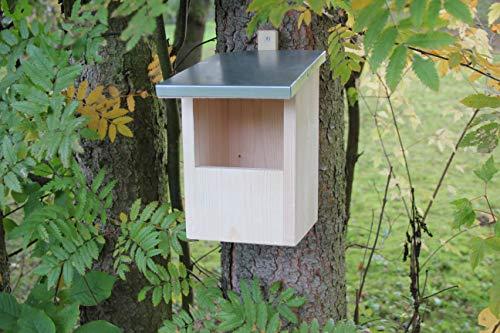 Nistkasten-(N7)-Halbhöhle Vogelhaus Vogelhäuschen Vogelhäuschen Garten Deko Zinkdach