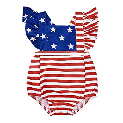 4th of July Infant Toddler Baby GirlIndependence DayOutfit American Flag Ruffle Romper Girls Gift Outfit 9-12 Months Red