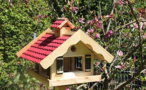 Deko Shop Vogelhaus Jagdhütte Rot Vogelhäuser Vogelfutterhaus Vogelhäuschen-aus Holz-Nistkasten-Schreinerarbeit-Vogelhausständer