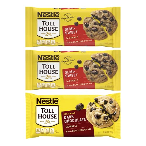 Nestlé Toll House Chocolate Chips, Pack of 3 – Includes Two, 12 oz. Bags of Semi-Sweet Chocolate Chips and One, 10 oz. Bag of Dark Chocolate Chips