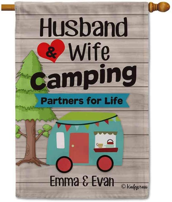 Personalized Husband & Wife Camping Partners For Life Camping Flag Double-Side Printed Approximately 12.5x18