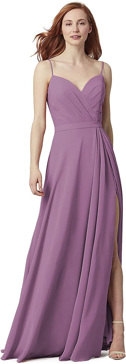 Lover Kiss Women's Bridesmaid Dresses Long 2021 Slit Pleated Chiffon Formal Evening Gowns with Pockets
