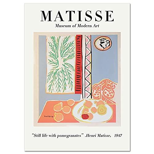 Vintage Henri Matisse cartel impresión línea cara cuerpo abstracto pared arte cuadro de la pared familia sin marco lienzo pintura A7 50x70cm