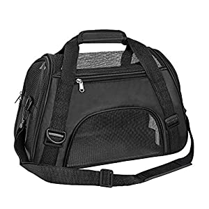 TIYOLAT Pet Carrier Bag, Airline Approved Duffle Bags, Pet Travel Portable Bag Home for Little Dogs, Cats and Puppies, Small Animals (Black)
