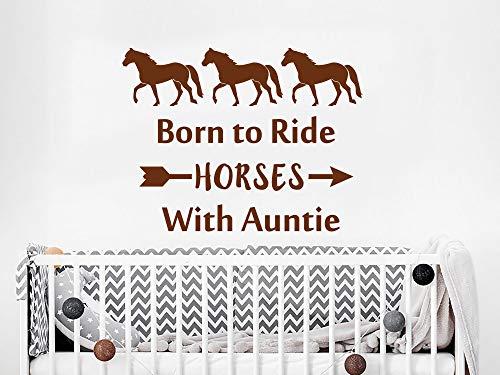 Cyber Week Sale - Adesivo da parete per cameretta dei bambini, con citazioni nati per cavalli con anta in vinile