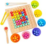 ZGHYBD Wooden Go Games Set Rainbow Clip Toy Puzzle Table Game Toy for Family Toys Wooden Peg Board Beads Game