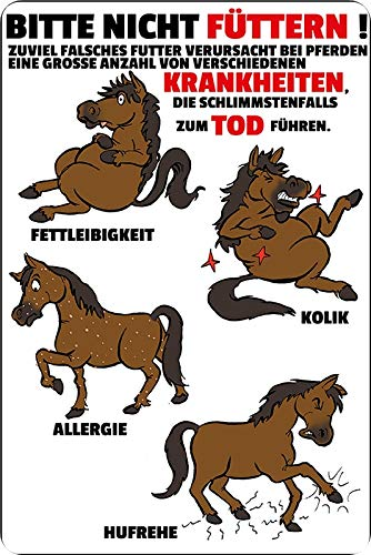 Metalen bord 20 x 30 cm Bitte nicht voederen ziektes paard wilg stall bord