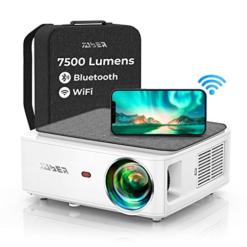 YABER V6 WiFi Bluetooth Projector 7500 Lux Full HD Native 1920×1080P Projector, 4P/4D Keystone Support 4k&Zoom, Portable Wireless LCD LED Home&Outdoor Video Projector for iOS/Android/PS4/PPT