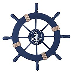 Rienar Nautical Beach Wooden Boat Ship Steering Wheel Fishing Net Shell Home Wall Decor (Deep Blue)
