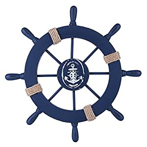 Rienar Nautical Beach Wooden Boat Ship Steering Wh...